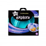 Set Farfurii Compartimentate Explora, Tommee Tippee, 2 buc, Turquoise