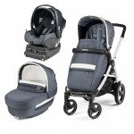 Carucior 3 In 1, Peg Perego, Book Plus 51 S, Titania White, baza i-Size inclusa, Luxe Mirage