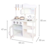 Bucatarie din lemn Ecotoys TK040 white + accesorii bucatarie - Alb