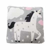 Perna Decor Bumbac Unicorn Gri/Roz